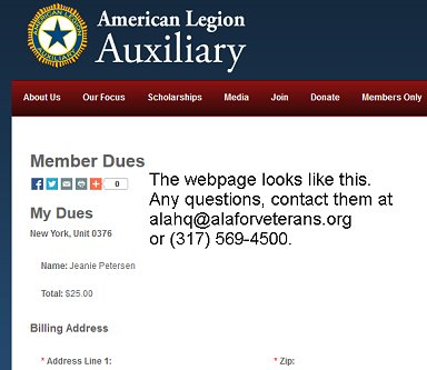 Sample of National ALA webpage to pay dues.