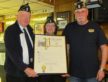 Ernie Spicer, Cmdr Darlene Ardron, and Ron Blanford with Assembly proclamation.