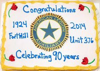 Anniversary cake celebrating 90 years of Unit 376's charter.
