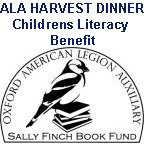 ALA Harvest dinner, childrens literacy benefit Sally Finch Book Fund logo